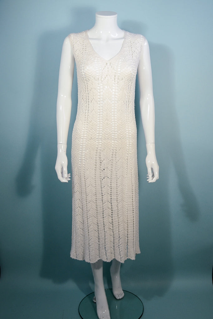 Vintage 60s Cream Crochet Pointelle Knit Shift Dress, Sleeveless Boho Summer Midi M