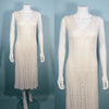 vintage 1960s, cream color, crochet midi dress