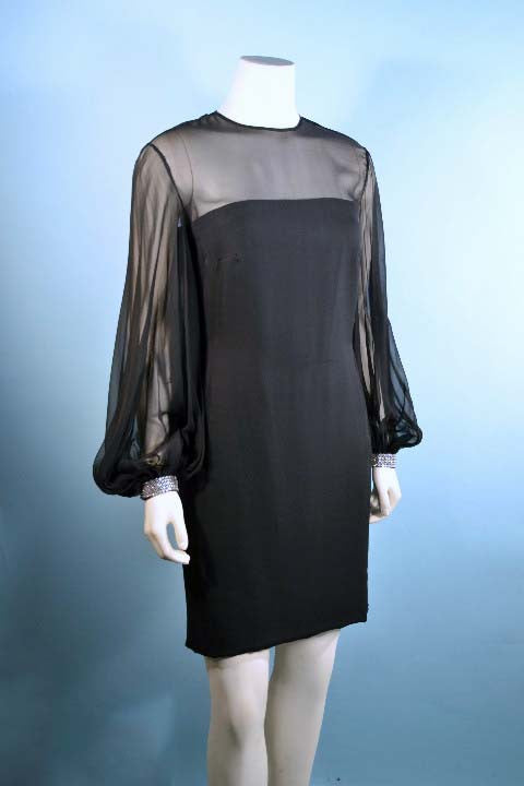 Vintage 60s Mod Black Chiffon Cocktail Party Dress, Full Poet Sleeves + Rhinestone Cuffs, Little Black Dress S