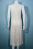 Vintage 60s Cream Crochet Pointelle Knit Shift Dress M