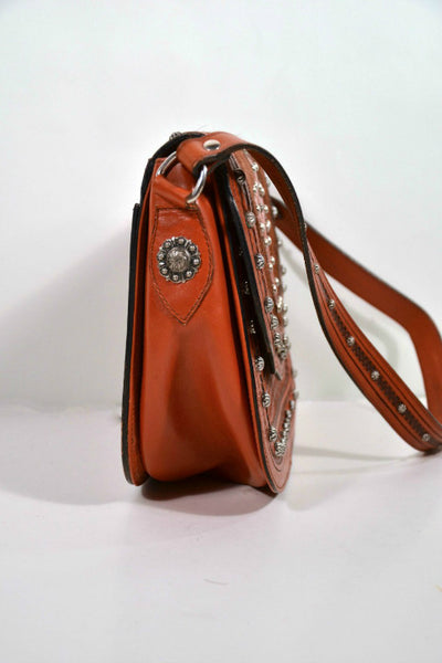 Vintage Tooled Leather Shoulder Bag with Cowhide + Cross Detail/Southwestern Leather Bag + Metal Studs