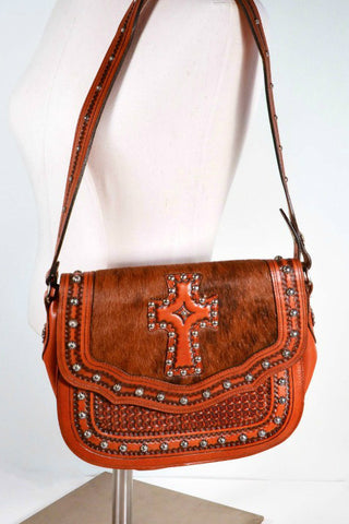 Vintage Tooled Leather Cowhide Shoulder Bag,  Cross Detail + Metal Studs, Boho Western Bag