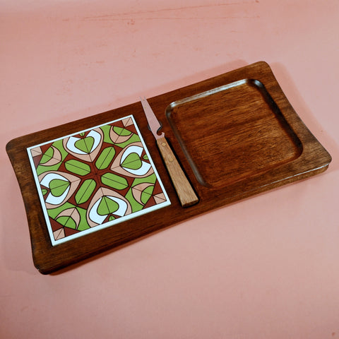 Vintage Mid Century Serving Platter, Wood Ceramic Tile Snack Party Tray, Made in Japan