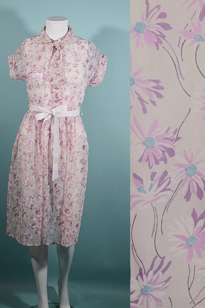 Vintage 40s Sheer White Floral Print Day Dress, Peter Pan Collar + Bow at Neckline, S 25