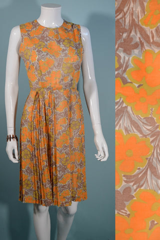 Vintage 60s Sheer Floral Print Day Dress, Sleeveless Pleated Skirt S 26