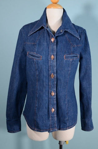 Vintage 60s Women's Boho Hippie Denim Shirt + Pockets Country Western Wear S/M