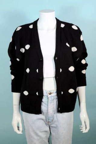 80s Black and White Polka Dot Cardigan, V Neck Loose Fit, Grunge Hipster Sweater