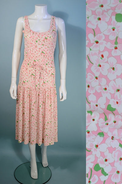 Vintage 80s Diane Von Furstenberg Sleeveless Pink + White Floral Dress, Drop Waist  S