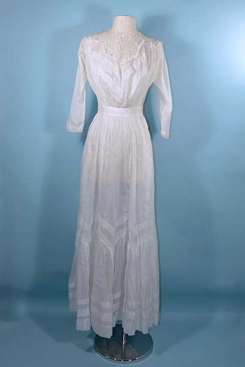 Antique 1900\'s Edwardian White Cotton Lace Victorian Lawn Dress ...