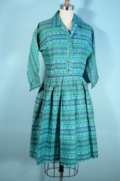 "Vintage 50s Turquoise Floral Retro Rockabilly Dress Shirtwaist Full Skirt Fitted 26"" Waist SZ S"