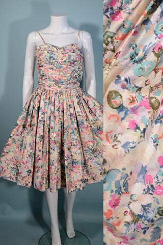 Vintage Fit + Flare Floral Spaghetti Strap Dress Full Skirt 23-24