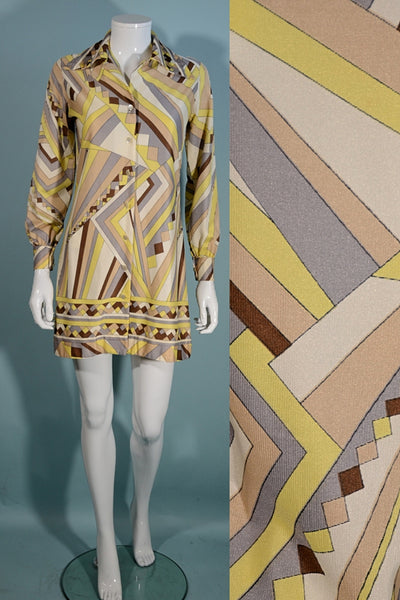 Vintage 60s Geometric Pattern Mini Dress, Buttons up Front Long Sleeve XS