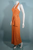 Vintage 70s Geoffrey Beene Boutique Sleeveless Halter Maxi Dress, Slit Skirt Belt S