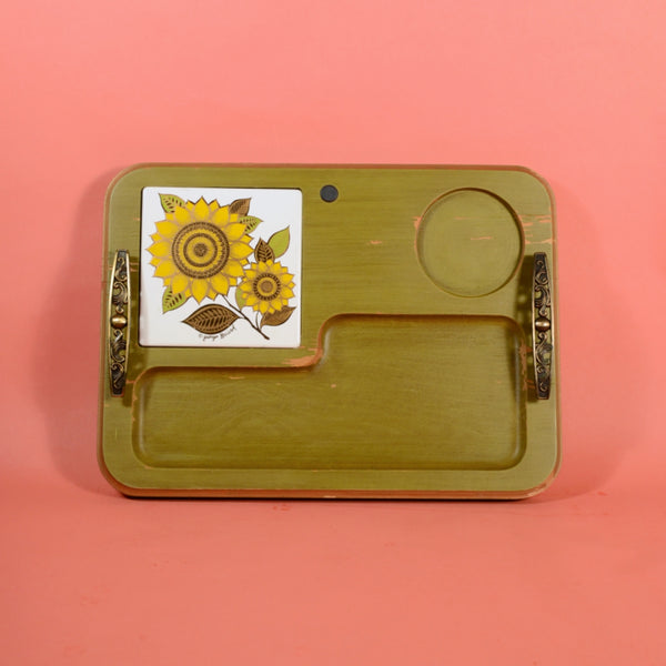 Vintage Georges Briard Green Chippy Paint Tray with Gold Wash, Serving Tray Kitchen Display