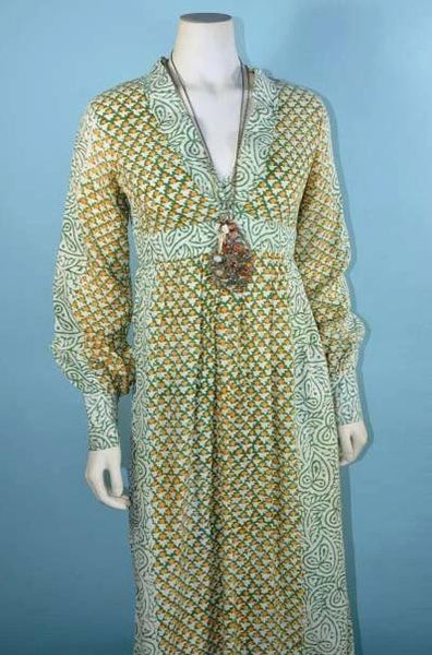Vintage 60s Boho Indian Block Print Long Dress, Hippie Festival Midi Dress XS