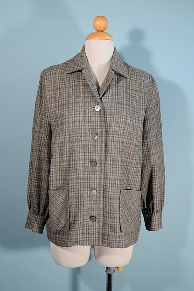 Vintage 50s Grey Plaid 49er Jacket, Patch Pockets MOP Buttons Petite Size