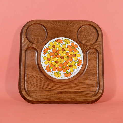 Vintage 70s Wood + Floral Ceramic Tile Serving Tray, Mid Century Cheese or Veg Platter by Goodwood