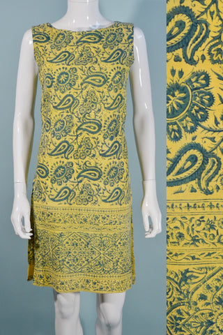 Vintage 1960s Boho Indian Print Mini Dress Tunic Sleeveless Yellow Hippie Dress S