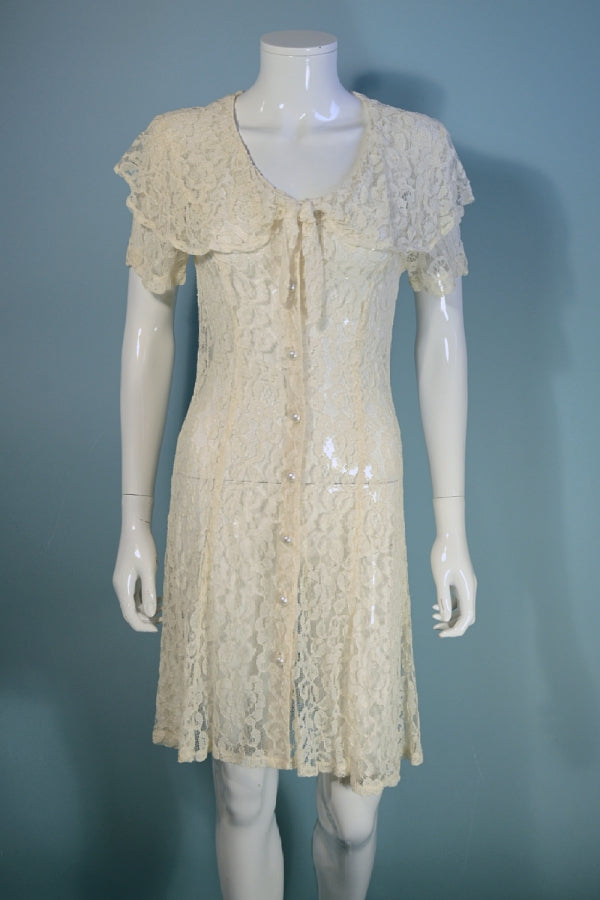 vintage cream lace mini dress, large collar