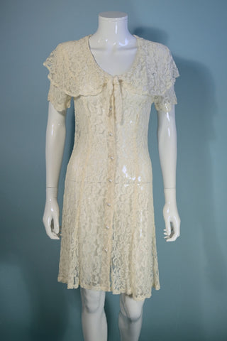 90s Off White Sheer Lace Mini Dress, Pilgrim Collar Short Sleeve M