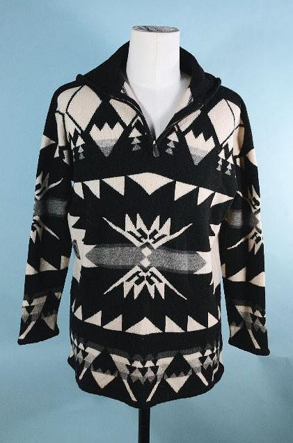 Vintage 80s Ralph Lauren Southwestern Sweater + Hood, Unisex Pullover Indian Blanket Style Top