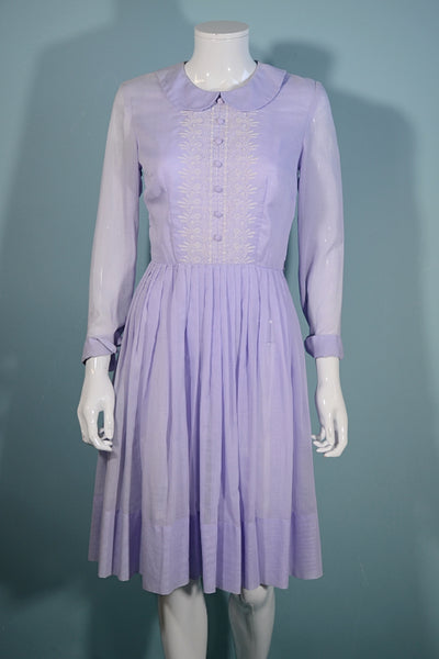 Vintage 60s Lavender Day Dress, Embroidered Front Panel Peter Pan Collar, Sears Fashions S