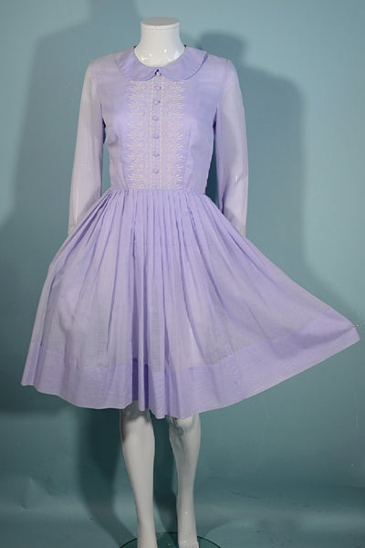 Vintage 60s Lavender Embroidered Day Dress, Peter Pan Collar, Sears Fashions S