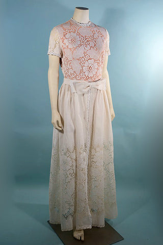 Vintage 60s Cream Lace Maxi Dress, Wedding Party Long Overdress by Lilli Diamond SZ M