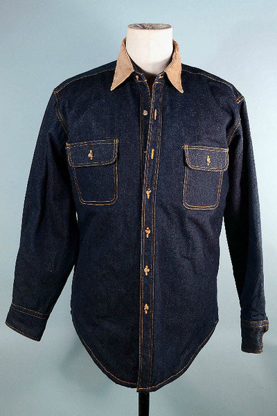 Vintage 70s Denim Shirt + Corduroy Collar, Hipster Country Rocker Quilted Lining Shirt L