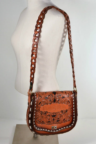 Vintage Tooled Leather Country Western Shoulder Bag, Inscribed