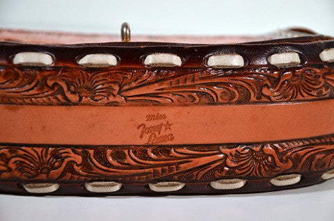 "Vintage Tooled Leather Country Western Shoulder Bag, Inscribed ""Mabel""  by Miss Tony Lama"