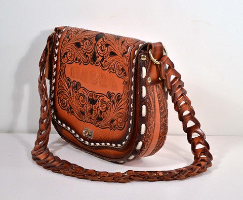 "Vintage Hand Tooled Leather Southwestern Handbag/ Country Western Crossbody Shoulder Bag/ Inscribed ""Mabel""  by Miss Tony Lama"