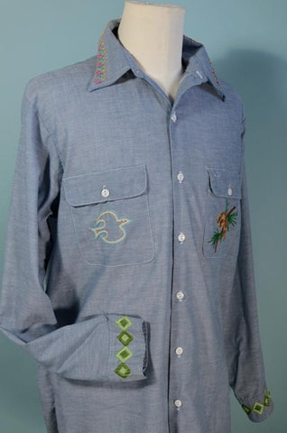 Vintage 70s Gents Embroidered Boho Hippie Long Sleeve Shirt L/XL