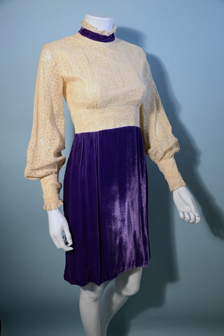 Vintage 60s Mod Purple Velvet + Lace Empire Waist Party Mini Dress XS