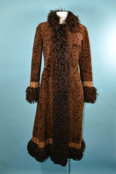 Vintage 60s/70s Boho Shearling + Mongolian Lamb Fur Midi Coat, Tapestry Trim Winter Coat XS