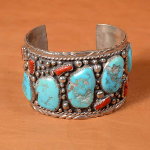 Vintage Sterling Silver Turquoise Coral Navajo, Native American Cuff Bracelet, Signed EG 111.1 Grams