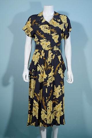 Vintage 40s Navy Asian Novelty Print Dress, Tassel Detail Draped Skirt 28
