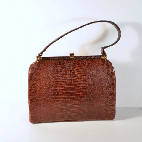 Vintage 60s Brown Lizard Mid Century Kelly Handbag, Reptile Top Handle Purse by Bellestone