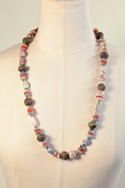 Vintage Ethnic Boho Agate Soapstone Metal Beaded Hippie Necklace, Well Worn + Patina