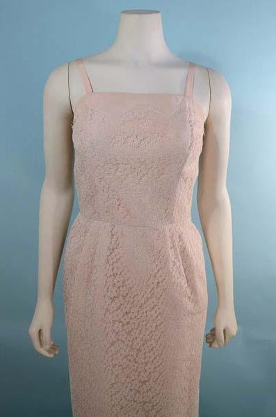 "Vintage 50s Pink Lace Strappy Wiggle Dress + Jacket Peter Pan Collar/ Wedding Party Day to Evening Suit Rhinestone Buttons/ 2 Piece Suit 25"" Waist"