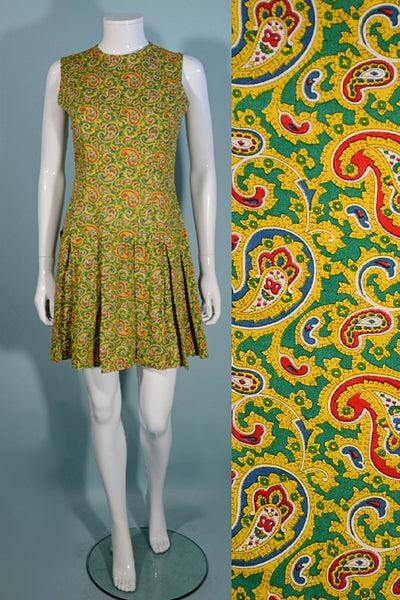 Vintage 1960s Mod Paisley Mini Dress Sleeveless Pleated Skirt 27