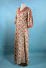 Vintage 70s Boho Block Print Maxi Dress Caftan/ Hippie Gypsy Bohemian Bell Sleeves S