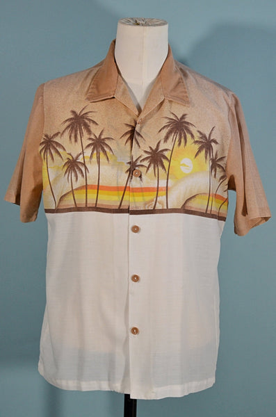 Surfs up! Vintage 70s Hawaiian Aloha Shirt, Palm Trees Sunrise California Surfer Hawaiian Aloha Shirt