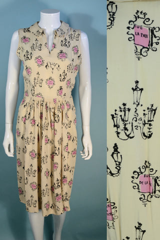 Vintage 50s Silk Novelty Print Paris Theme Sleeveless Dress 26