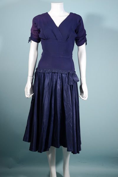 Vintage 1940s Blue Crepe Taffeta Party Dress Dropped Waist Fit and Flare, Harco Originals, XS/S Costume or Study