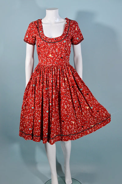 Vintage 40s/50s Brick Red Novelty Print Tyrolean People & Tiny Flowers, Fit and Flare Day Dress 25 1/2