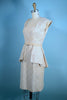 Vintage 50s Cream Brocade Wiggle Dress + Removable Over Skirt Peplum, Rockabilly Dress SZ M