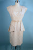 Vintage 50s Cream Brocade Wiggle Dress + Removable Peplum, Pinup Rockabilly Dress SZ M