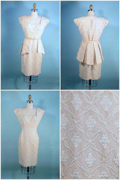 Vintage 50s dress, removable peplum