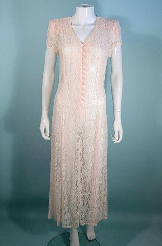 Vintage Sheer Lace Pink Dress, Corset Lace up Back, Boho Party Dress S/M